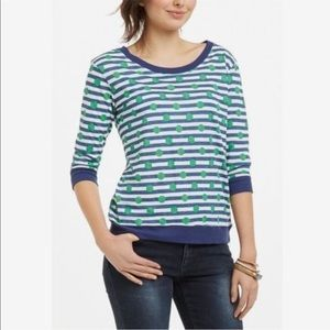 Anthropologie Green Polkadot Striped Top Size L